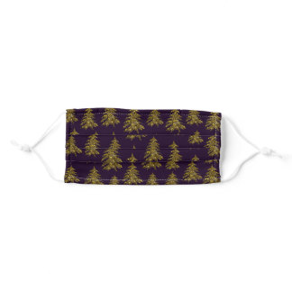Sparkly Christmas tree on purple Adult Cloth Face Mask
