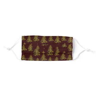 Sparkly Christmas tree on red Adult Cloth Face Mask