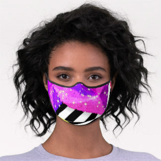 Sparkly Fuschia Pink and Lavender Premium Face Mask