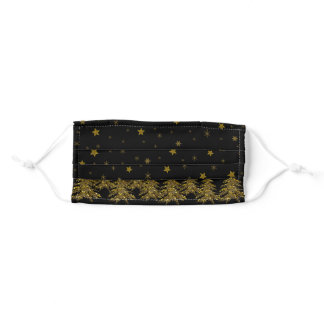 Sparkly gold Christmas tree, moon, stars on black Adult Cloth Face Mask