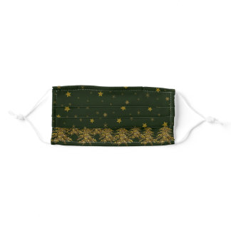 Sparkly gold Christmas tree, moon, stars on green Adult Cloth Face Mask