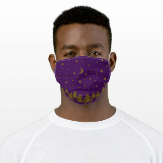 Sparkly gold Christmas tree, moon, stars on purple Adult Cloth Face Mask