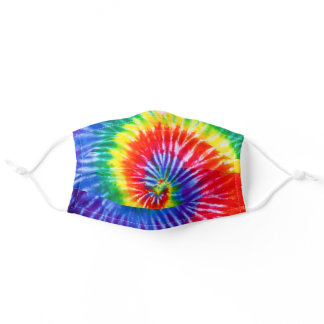 Spiral Rainbow Tie Dye Pattern Adult Cloth Face Mask