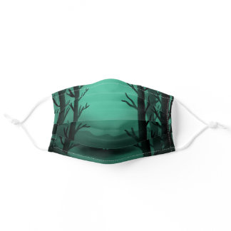 Spooky Forest Green Cool Halloween Adult Cloth Face Mask