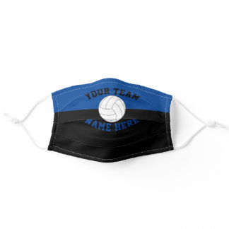 Sport Team School Color Blue & Black Volleyball Adult Cloth Face Mask