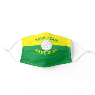 Sport Team School Color Yellow & Green Volleyball Adult Cloth Face Mask