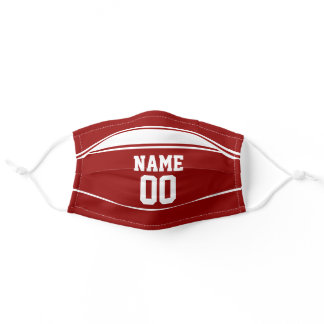 Sports Jersey Look Custom Name and Number Maroon Adult Cloth Face Mask