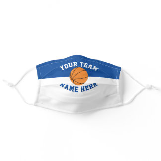 Sports Team Colors Blue & White Spirit Basketball Adult Cloth Face Mask