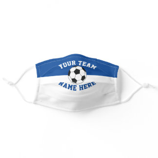 Sports Team Colors Blue & White Spirit Soccer Adult Cloth Face Mask