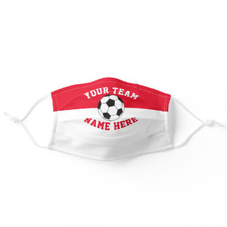 Sports Team Colors White & Red Spirit Soccer Adult Cloth Face Mask
