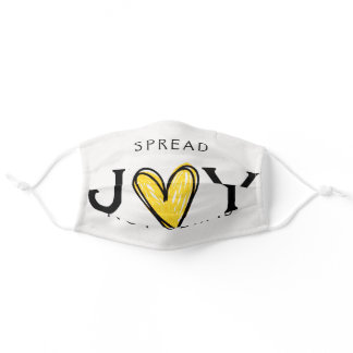 Spread Joy Not Germs Gold Glitter Heart Adult Cloth Face Mask