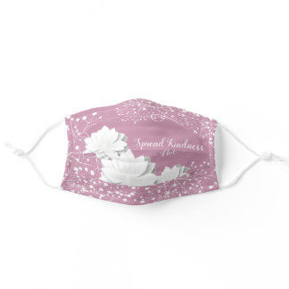 Spread Kindness Not Germs, White Flowers Adult Cloth Face Mask