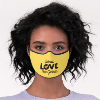Spread Love not germs LGBT rainbow heart Premium Face Mask