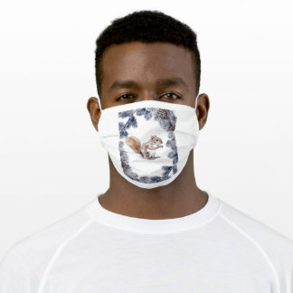 Squirrel in winter adult cloth face mask