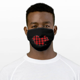 Squirrel Lover Buffalo Plaid Pattern Adult Cloth Face Mask