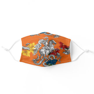 St. George Slaying the Dragons - Orange Adult Cloth Face Mask