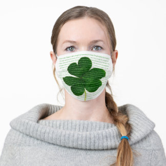 St. Patrick Irish Poem The Deer's Cry Shamrock Adult Cloth Face Mask