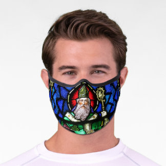 St Patrick Stained Glass Church Window Religious Premium Face Mask