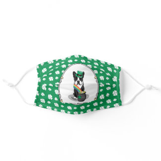 St. Patrick's Day Boston Terrier Dog (black) Cute Adult Cloth Face Mask