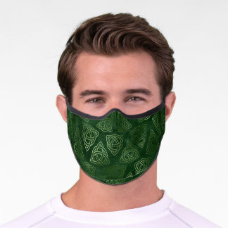 St Patricks Day Celtic Trinity Knot Pattern Green Premium Face Mask
