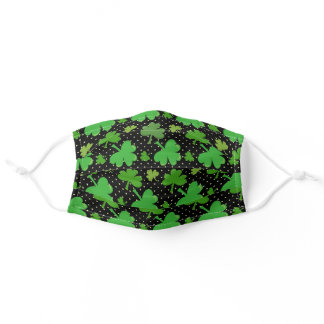 St. Patricks Day Green Black Clovers Irish Adult Cloth Face Mask