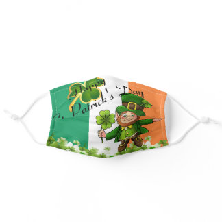 St. Patrick's Day Leprechaun Shamrocks Flag Adult Cloth Face Mask