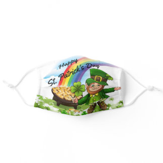 St. Patrick's Day Leprechaun Shamrocks Rainbow Adult Cloth Face Mask