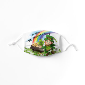 St. Patrick's Day Leprechaun Shamrocks Rainbow Boy Kids' Cloth Face Mask