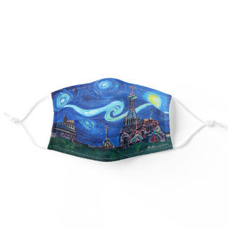 St Petersburg Starry Night Van Gogh inspired Adult Cloth Face Mask