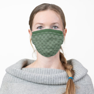 Staggered squares with racing stripes - jade adult cloth face mask