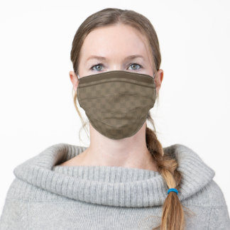 Staggered squares with racing stripes - khaki adult cloth face mask