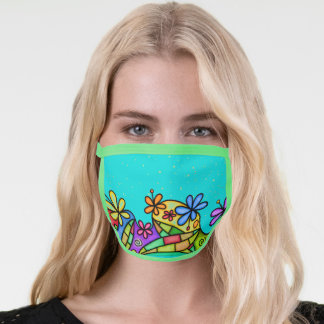 Stained Glass Doodle Flowers Face Mask
