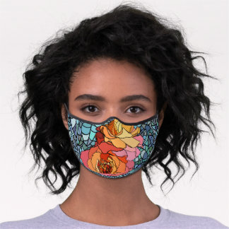Stained Glass Flowers Premium Face Mask