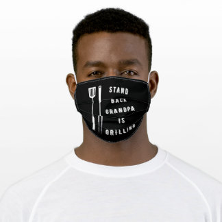 Stand back grandpa is grilling adult cloth face mask