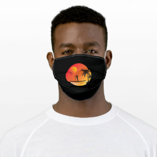 Stand Up Paddling Sunset Under Palm Trees Adult Cloth Face Mask