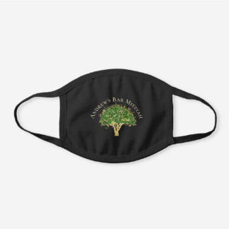 Star of David Tree Bar Mitzvah Curved Text Black Cotton Face Mask