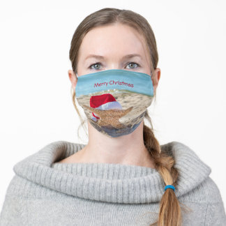 starfish with Santa hat Adult Cloth Face Mask