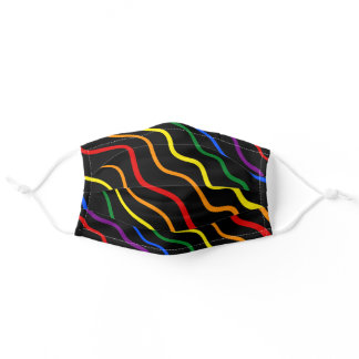 Stars Pride Colors Wavy Lines on Black Adult Cloth Face Mask