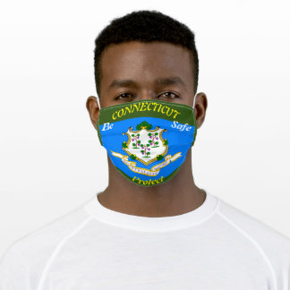 State Connecticut  Flag Green Adult Cloth Face Mask