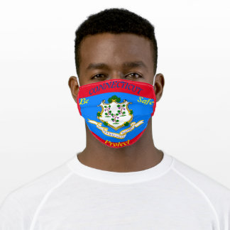 State Connecticut  Flag on Red Adult Cloth Face Mask