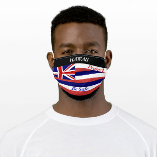 State Hawaii Flag on Black Adult Cloth Face Mask