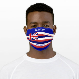State Hawaii Flag on Blue Adult Cloth Face Mask