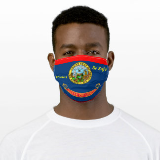 State Idaho Flag on Red Adult Cloth Face Mask