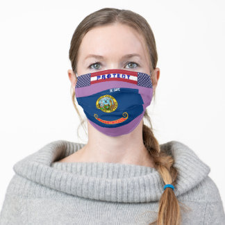 State Idaho Flag w/ Stars Stripes on Lavender Adult Cloth Face Mask