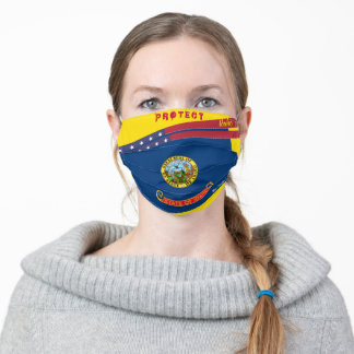 State Idaho Flag w/ Stars Stripes on Yellow Gold Adult Cloth Face Mask