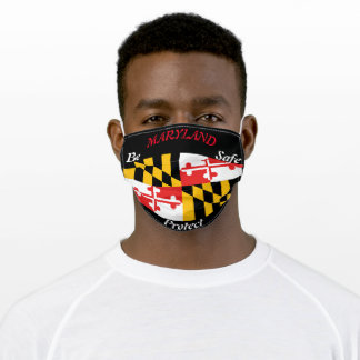 State Maryland State Flag on Black Adult Cloth Face Mask