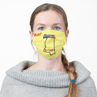 State Mississippi on Yellow Adult Cloth Face Mask