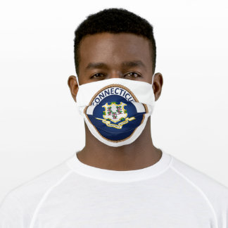 State Of Connecticut Flag SEal Adult Cloth Face Mask