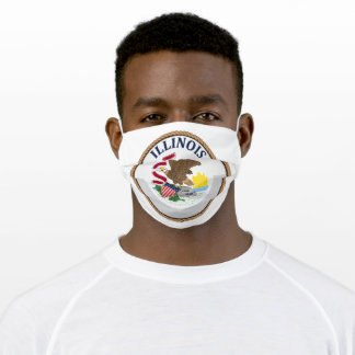 State Of Illinois Flag Seal Adult Cloth Face Mask