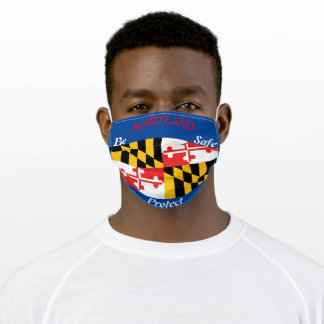 State of Maryland Flag on Blue (Red White Blue) Adult Cloth Face Mask